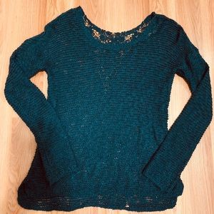 Pink rose blue lace sweater